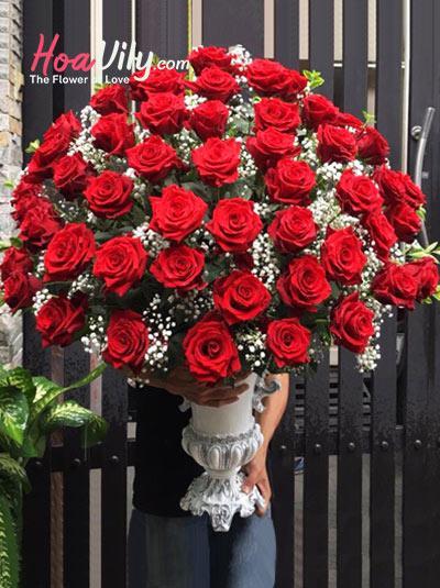 Bình hoa hồng Ecuador - Phá cách