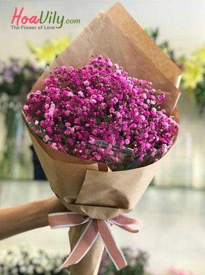 Bó hoa baby hồng dễ thương 2