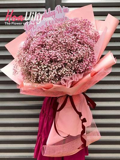 Bó hoa baby hồng - Ngây ngô