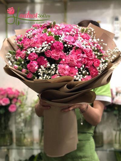 Bó hoa cẩm chướng hồng đẹp tuyệt