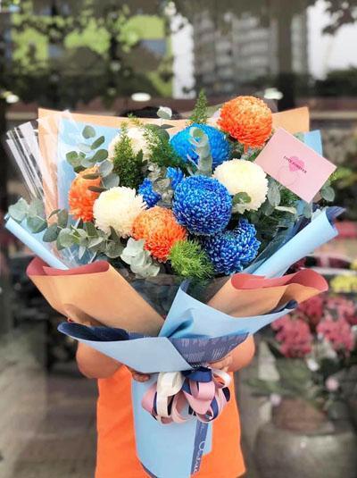 Bó hoa cúc mẫu đơn - Đa sắc