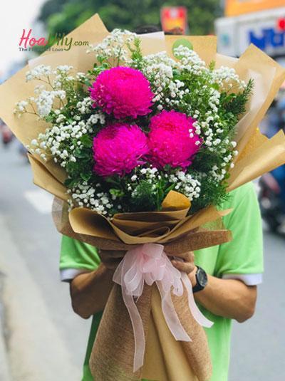 Bó hoa cúc mẫu đơn hồng đỏ mix baby - Miss you baby