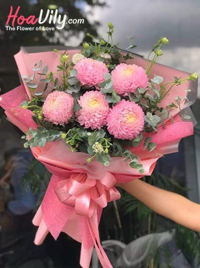 Bó hoa cúc mẫu đơn hồng - Yêu em mặn nồng