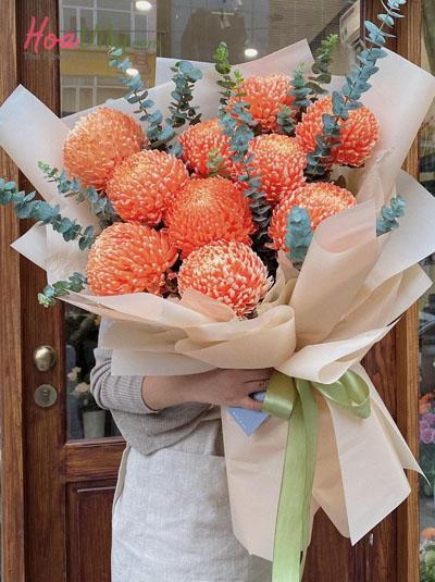 Bó hoa cúc mẫu đơn màu cam