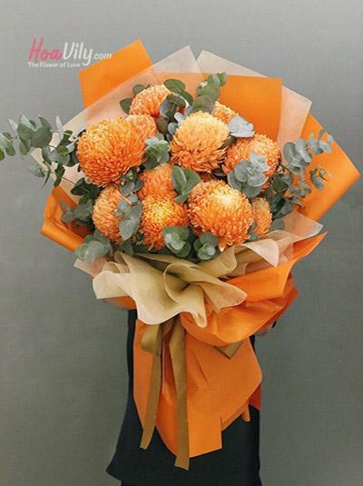 Bó hoa cúc mẫu đơn - Orange Balls