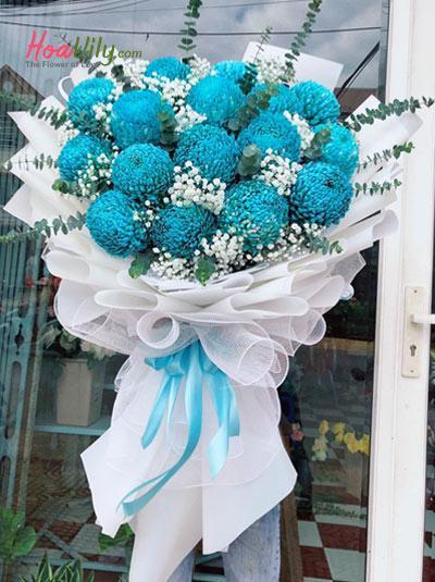 Bó hoa cúc mẫu đơn xanh - Cười lên nhé