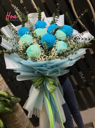 Bó hoa cúc mẫu đơn xanh - Vui tươi
