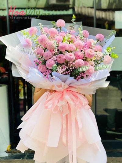Bó hoa cúc pingpong dễ thương