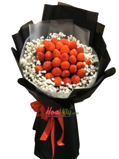 Bó hoa dâu tây - dễ thương