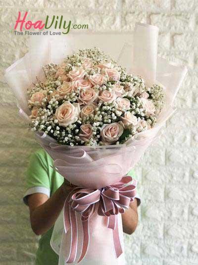 Bó hoa hồng da kết hợp baby