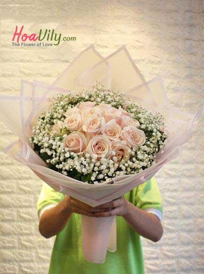 Bó hoa hồng da xinh xắn