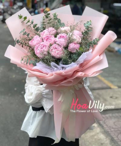 Bó hoa mẫu đơn hồng - Lung linh