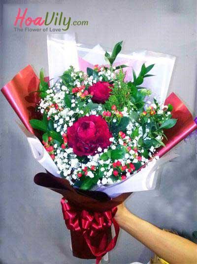 Bó hoa mẫu đơn- Màu đỏ thắm