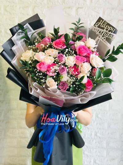 Bó hoa mix hồng dễ thương
