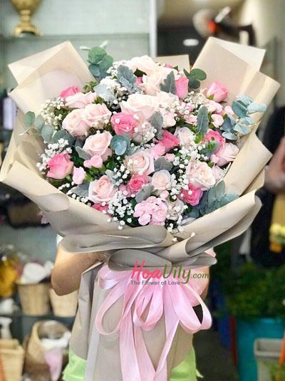Bó hoa mix hồng - Tia nắng trong anh