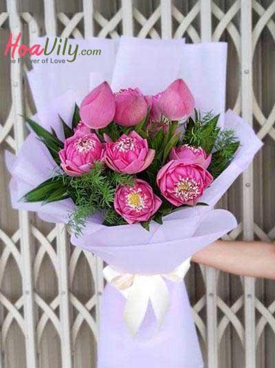 Bó hoa sen hồng - Nét đẹp Việt