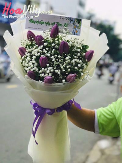 Bó hoa tulip tím - Lòng càng thắm thiết