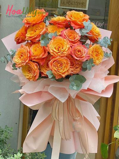Bó hồng Ecuador cam lửa