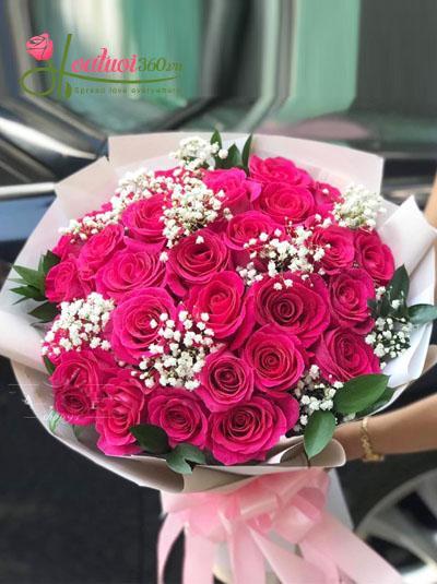 Bó hồng Ecuador cánh sen đẹp tuyệt