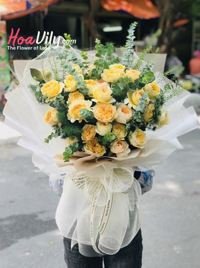 Hoa cao cấp - Bó hồng vàng Juliet