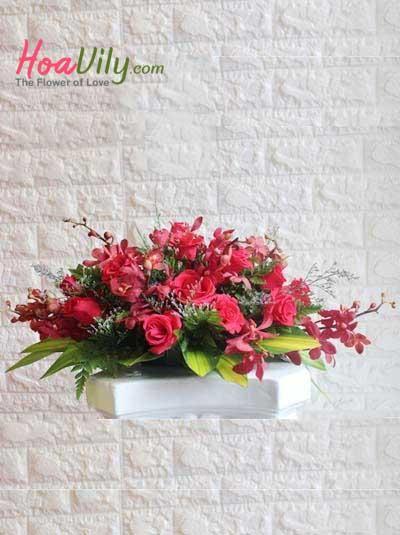 Hoa để bàn - Hình oval đỏ