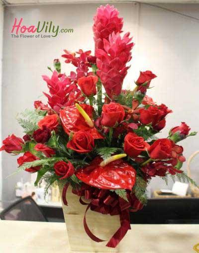 Hoa hộp gỗ sắc đỏ may mắn