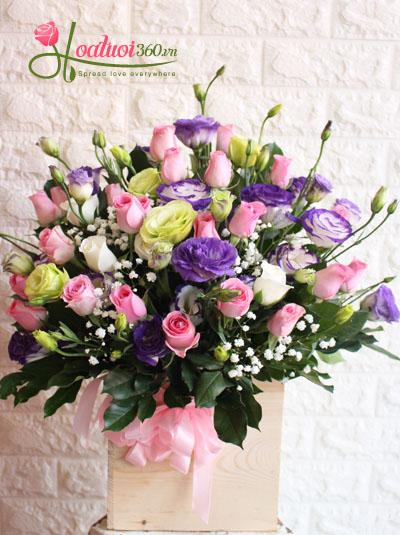 Hoa hộp gỗ- tone màu ngọt ngào