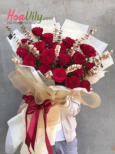 Hoa sinh nhật - Bó hồng đỏ quyến rũ