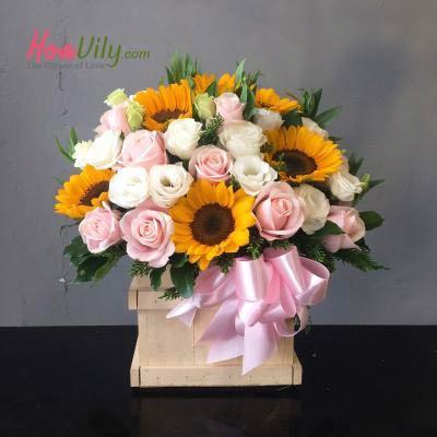 Hộp hoa Ánh dương ấm áp