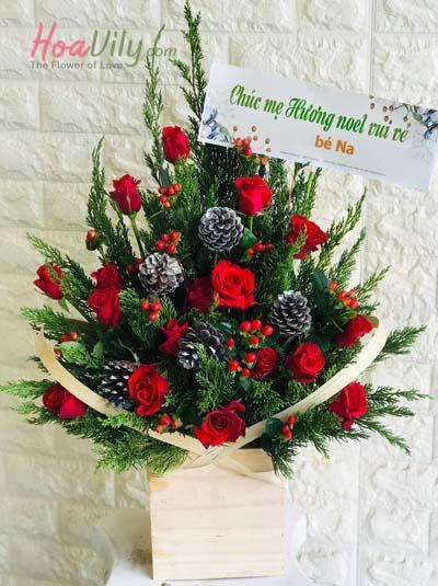 Hộp hoa chúc mừng giáng sinh