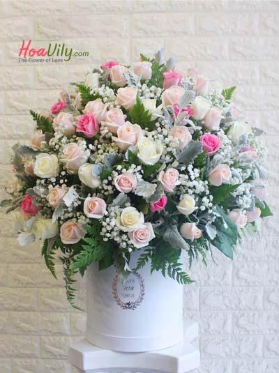 Hộp hoa chúc mừng - Hồng ngọt ngào