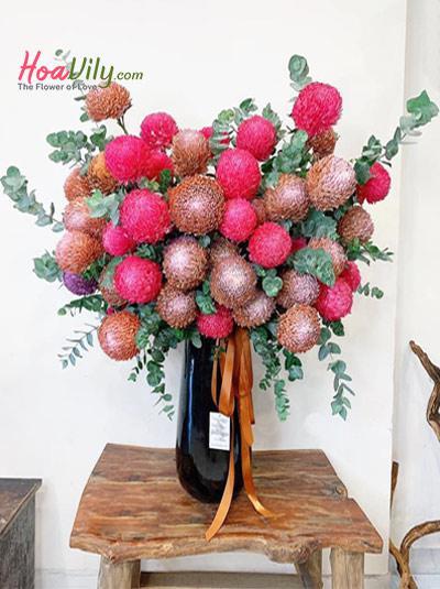 Hộp hoa cúc mẫu đơn đa sắc
