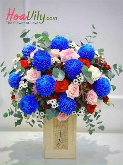 Hộp hoa cúc mẫu đơn xanh - Vạn lý do yêu em
