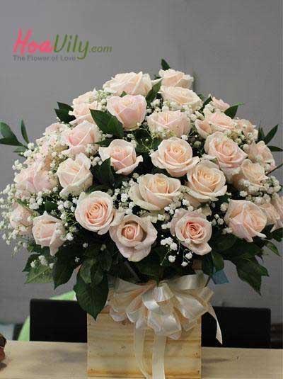 Hộp hoa hồng da kết hợp baby