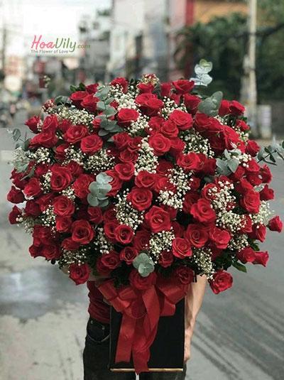 Hộp hoa sinh nhật - Sắc đỏ nồng nàn