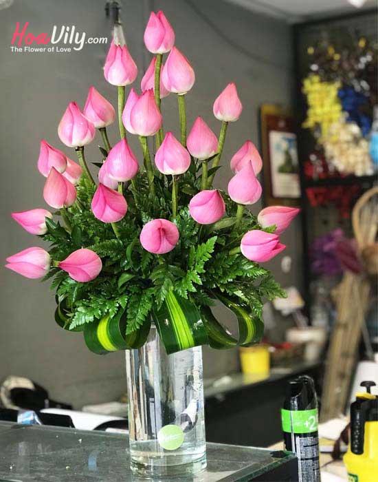 hoa sen trang trí nhà