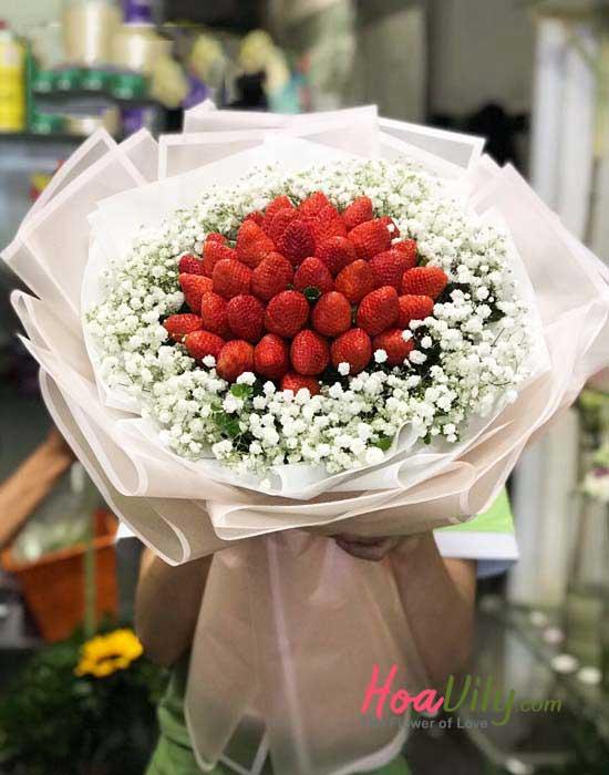 Bó hoa ăn được kết hợp xinh xắn