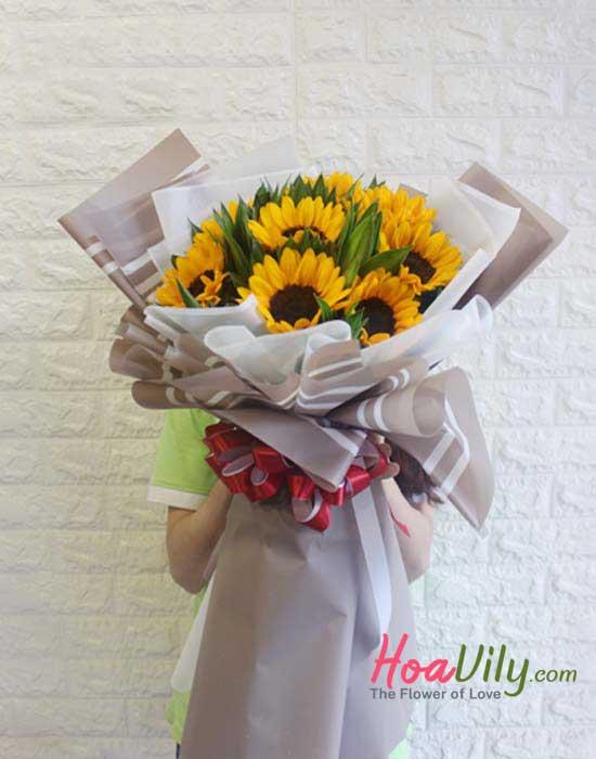 bó hoa hướng dương chúc mừng