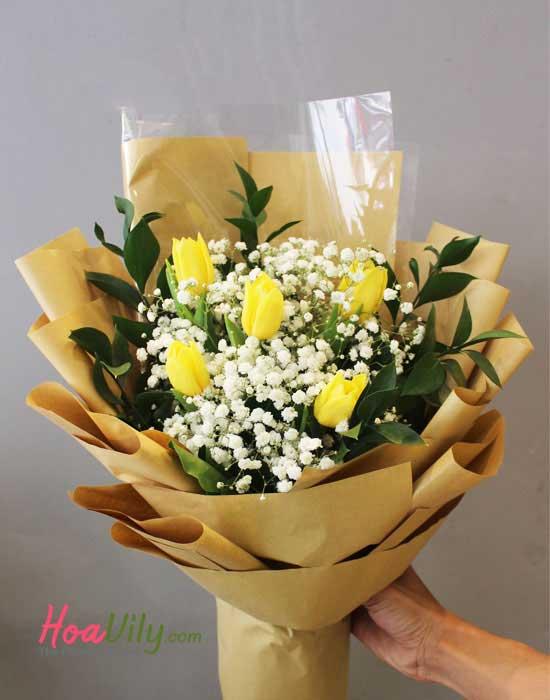 Bó hoa sinh nhật vàng tươi