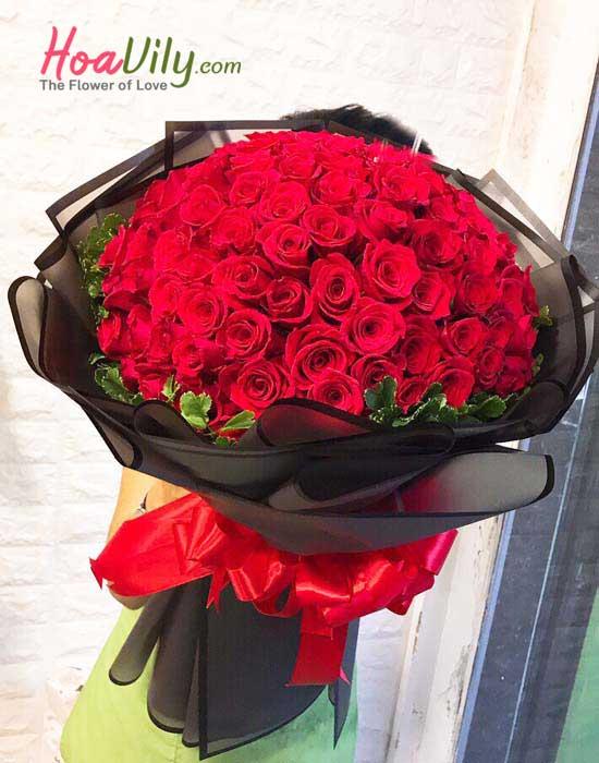 Bó hoa hồng chúc mừng giáng sinh