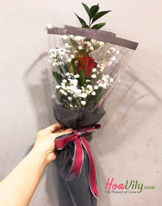 Bó hoa 1 bông hồng đỏ