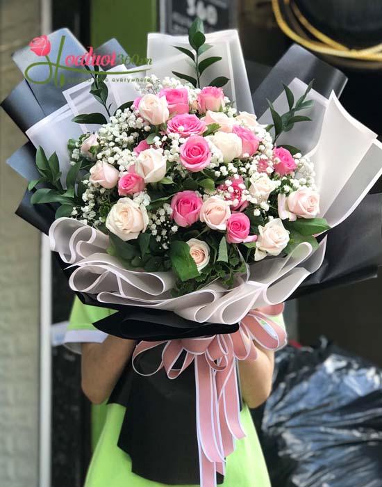 Tặng hoa bó dài tuyệt đẹp cho bạn gái nhân dịp sinh nhật