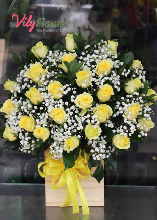 Hộp hoa hồng vàng mix baby mừng sức khỏe ý nghĩa