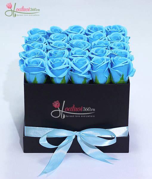 hoa hồng sáp thơm màu xanh dương