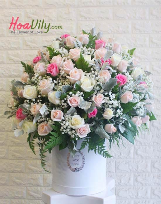 Hộp hoa cao cấp kết hợp