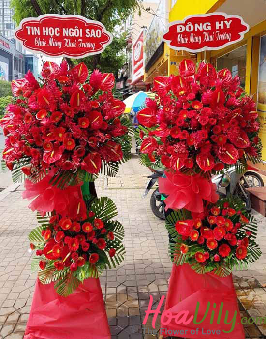 Hoa khai trương đỏ thắm chúc mừng khai trương