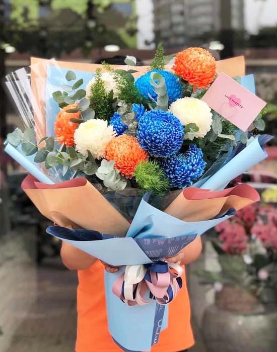 Hoa cúc mẫu đơn có kích thước to, màu sắc đa dạng