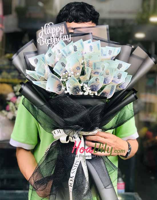 Bó hoa bi với hoa bằng tiền - Món quà bất ngờ
