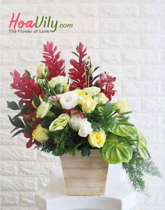 Hoa cắm hộp gỗ hình chậu tinh tế và độc đáo