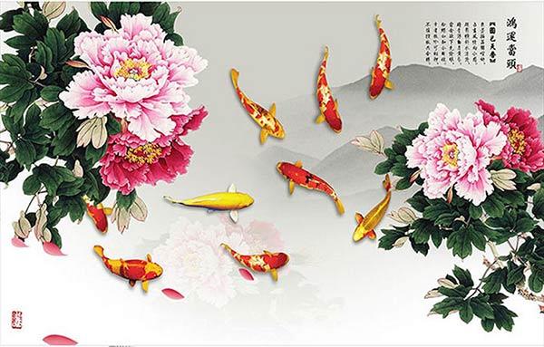 Bộ tranh hoa mẫu đơn phong thuỷ trang trí nhà đẹp
